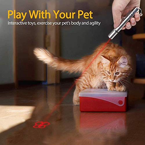 Cat Laser Toy, Red Dot LED Light Pointer Interactive Cat Toys for Indoor Cats Dog, Long Range 3 Mode Lazer Projection Playpen for Kitten Outdoor Pet Chaser Tease Stick Training Exercise,USB Recharge