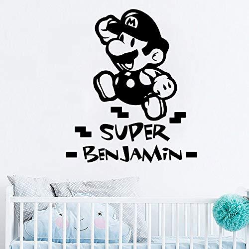 XCSJX Nombre de couston Vinilo Etiqueta de la Pared decoración del Arte para la habitación de los niños decoración de la habitación de los niños calcomanía Mural Cartel 44x51 cm