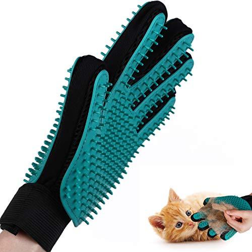 KATELUO Haustier Bürsten Handschuh,Haustier Grooming Handschuh,Fellpflege Handschuh,Massage Bürste für Langhaarige,Kurzhaarige und Gelockte Hunde, Katzen und Andere Haustiere(Doppelseitiger Handschuh)
