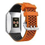 Syxinn Compatible para Fitbit Ionic Correa de Reloj, Banda de Reemplazo Silicona Suave Sports Pulsera para Ionic Watch (Naranja-Negro 1)