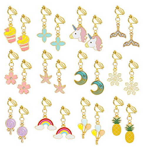 Hifot 12 Pairs Clip on Earrings Dress up Princess Jewelry Accessories for Little Girls Kids Toddler Party Favors Birthdays Day Gift for Pretend Play