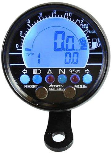 Acewell ACE-2853AS - Tachometer und Drehzahlmesser mit Kraftstoffanzeige, Alu-Gehäuse-schwarz