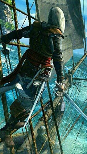 YANGCH Assassin's Creed, 5D DIY Diamantmalerei-Kit, rundes oder quadratisches Volldiamant-Kreuzstichmosaik-Heimdekorationsgeschenk(19.7x27.6inch)
