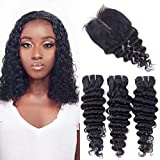 Brazilian Deep Wave Bundles with T Part Closure 4x1inch Hand-Tied Lace Closure Middle Part Deep Curly Human Hair 3 Bundles with Closure Wet and Wavy Bundles with Closure (10 12 14+8) 70g/bundle