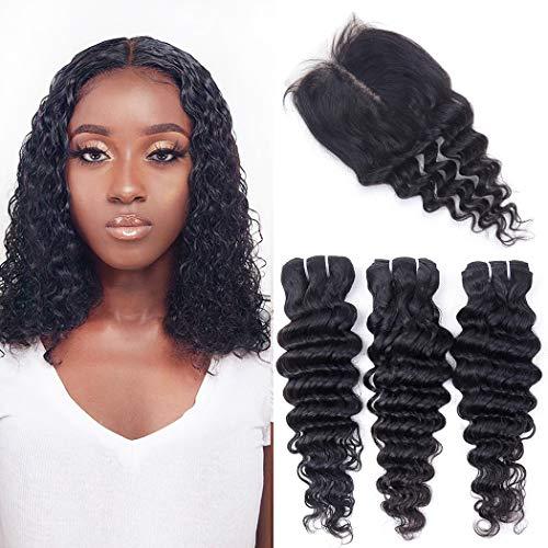 Deep Wave Bundles With T Middle Part Closure Brazilian Deep Curly Human Hair Bundles With Lace Closure Unprocessed Weave Hair Human Bundles With Closure Natural Color (12 14 16+10, 70g/bundle)