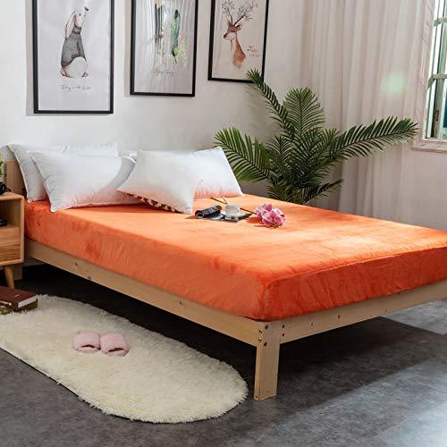 HIABA - Sábana bajera ajustable de franela de algodón cepillado o fundas de almohada, suave y acogedora (naranja, 150 x 200 cm + 25 cm)