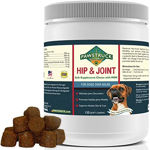 Natural Hip and Joint Supplement for Dogs in Bulk - Soft Chew Pain Relief & Prevention, Glucosamine For Dogs w/ Chondroitin & MSM for Healthy Canines, Made in USA (Large & Giant Dogs - 150 Count)
