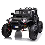 48.4' Large Ride On Car for Kids, 12V Battery Powered Electric Car with 2 Seats, Remote Control, 14' Large Suspension Wheels, LED Lights, Music, Bluetooth, Best Gifts for 3,4,5,6,7,8 Year Olds