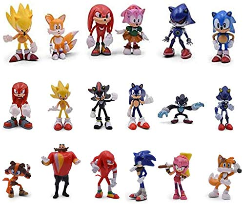 JP Anime Modell Neu 18 PCS Sonic Actionfiguren Spielzeug Der Igel Sega Super Sonic Knöchel Schwänze Geschenkpuppe Sammlung Dekoration Tasche Set-PP