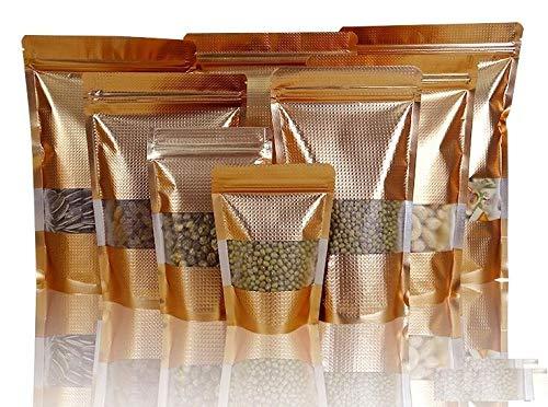 ZipCoV Bolsas de Aluminio de 16 x 24 cm con 4 cm: 10 x 15 cm, 50 Unidades, Parte Inferior Plana de Color Dorado Mate, Cierre resellable con Ventana, Paquete de plástico