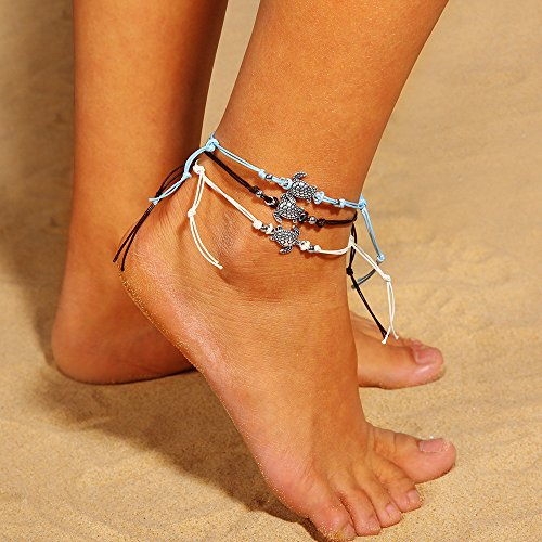 3PC Blue Starfish Turtle Anklets Multilayer Boho Sea Handmade Anklet for Women Girls Foot Jewelry Set