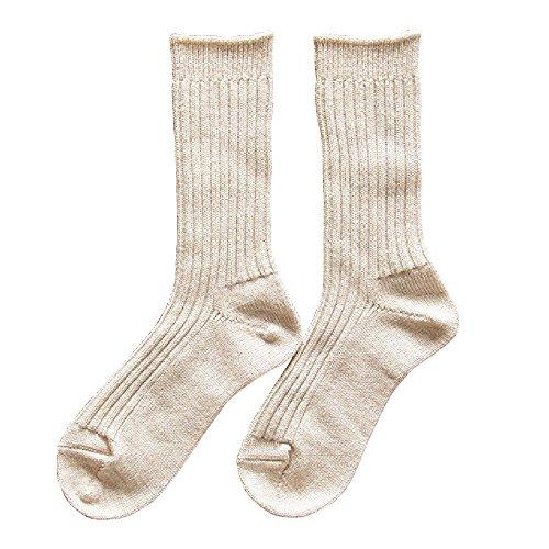 くらしきぬ お手軽冷えとり靴下 シルク&ウール リブ/かかとあり【日本製】(サンドベージュ)
