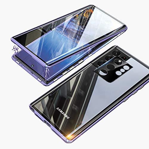 Funda para Samsung S21 Ultra 5G Magnética Carcasa,Funda Protectora de Cuerpo Completo 360° Cristal Templado Cover con Protector de Pantalla,Antigolpes Metal Bumper Case para Galaxy S21 Ultra-P