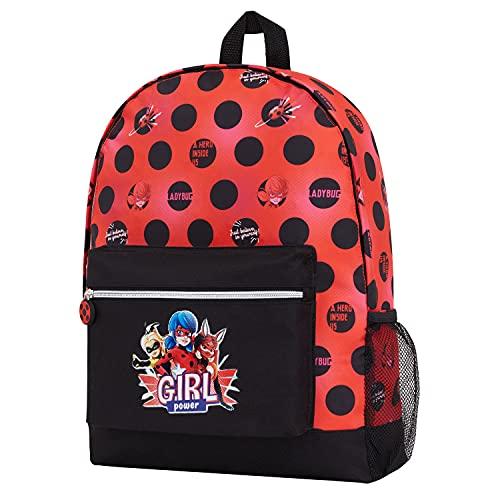 Miraculous Ladybug Kinder Rucksack, Mädchen Rucksäcke für Schule, Leichter Rucksack für Reisen, Sport, Niedliche Geschenke für Mädchen