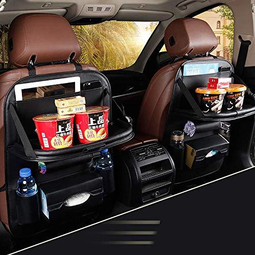2 paquetes de organizador de coche, alfombrilla para asiento trasero, fundas de asiento impermeables con múltiples bolsillos, ordenado con iPad, organizador de soporte para tableta para cochecito de p