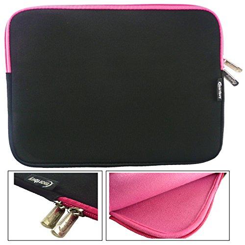 emartbuy® Schwarz/Rosa Wasserdicht Neopren weicher Reißverschluss Kasten Abdeckung Sleeve mit Rosa InterieurGeeignet Für Trekstor SurfTab Duo W3 2 in 1 Tablet PC 11.6 Zoll (11.6-12.5 Zoll)
