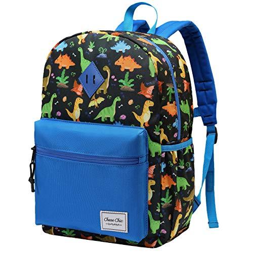 Kinderrucksack für Jungen,ChaseChic Leicht Wasserabweisend Kleinkind Schulrucksäcke Vorschule Kindergarten Büchertasche für Kinder mit Brustgurt,Blauer Dinosaurier