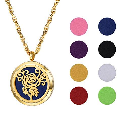 PROSTEEL 18k vergoldet Halskette für Männer Frauen Anhänger mit Kette Hohl Rose Blume Medaillon Ätherische Öle Diffusor Floating Locket Aromatherapie Zubehör 8 bunten Pads verfügbar(Gold)