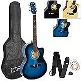 3rd Avenue Paquete de Guitarra Acústica Recortada para Principiantes con Bolsa, Correa, Púas y Cuerdas de Repuesto, Azul, Tamaño Completo 4/4