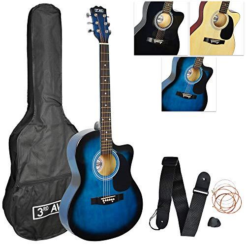 3rd Avenue Pack de guitarra acústica con Cutaway de tamaño estándar 4 4 para principiantes con funda de transporte, correa, púas y cuerdas de repuesto, Blueburst
