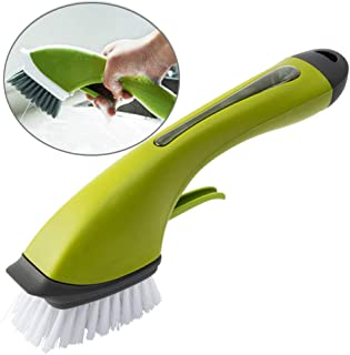 Povinmos Scrub Brush, Soap Dispensing Sink Brush, Cast Iron Scrub Brush- Durable Nylon Bristles, Thickened Handle, Not Easy to Snap Off and Leak Soap, Green