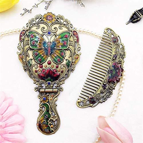 AJH Conjunto de Espejo Compacto de Mano Decorativo Vintage - Diseño de Mariposa en Relieve - Mango Plegable - Ligero y portátil - Cali