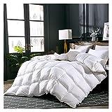 HBIN Ganso/Duck Down Quilt Manta edredón para Invierno/Verano Cubierta de algodón Blanco Edredón (Color : White, Size :...