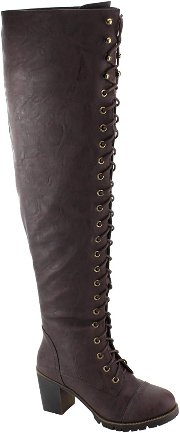 SHOEDEZIGNS Illusion 01 OK Womens Thigh High Lace UP Chunk Heel Combat Boots Brown 8