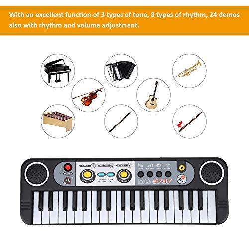 Dilwe Elektronisches Keyboard Piano, 37-Tasten mit Mikrofon und 24 Demos mit der Anpassung der Beats Digital Klavier Educational Musikinstrumente Geschenk für Kinder Anfänger Schüler