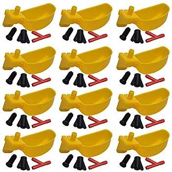 Lucky Farm 10 Pcs Mangeoires pour Abreuvoir à Oiseaux, Abreuvoir à Eau pour Poulet, Distributeur de Tasses à Eau pour Animaux de Compagnie pour Pigeon Perroquet Caille (Jaune)