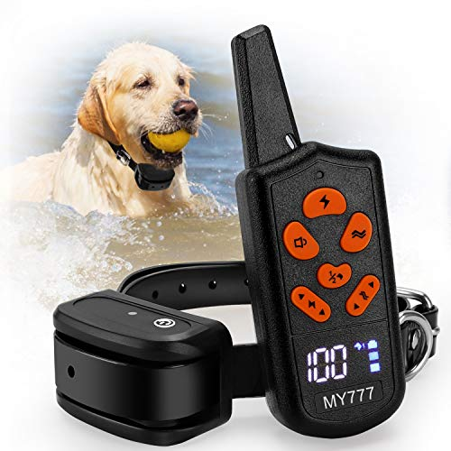 Dog Training Collar with Remote-Shock Collar for Dogs Large,Medium,Small-Waterproof E-Collar w/ 3 Correction Modes, Beep, Vibration,Shock|Pet Tech Dog Collar offer 1~100 Shock Levels ,1600ft Remote