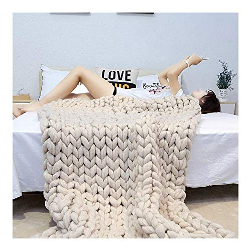 Chicti Gebreide deken, grof, knuffeldeken, wollen deken, wol, garen, arm, gebreide deken, sprei, sprei, sprei, huisdier, bed, stoel, sofa, yogamat, A