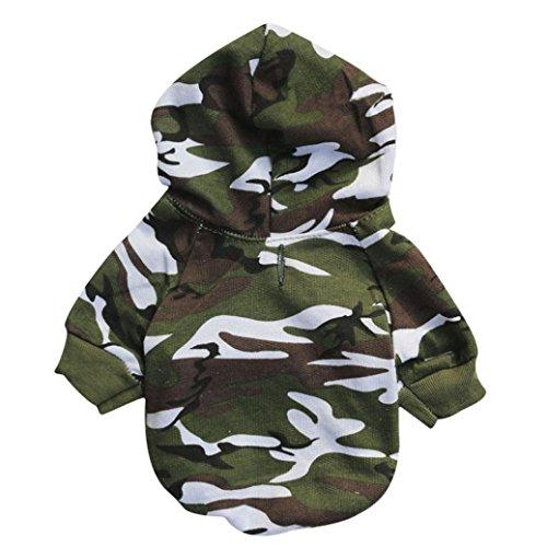 Hündchen Haustier Hund Kleidung Sweatshirts Rosennie Weiches und Bequemes Camouflage Pullover Kostüm Hundemantel Haustier Hundebekleidung Hoodie warme Sweatshirts Puppy Coat Bekleidung (XS, Armeegrün)