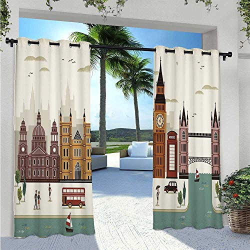 Outdoor Door Curtain Attractive Travel Scenery Famous City England Big Ben Telephone Booth Westminster Waterproof Indoor/Outdoor Curtains for Back Deck to Provide Additional Privacy W96 x L84 Inch