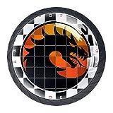 Tablero de ajedrez dragón Perillas de gabinete Forma de lente convexa de cristal Pantalla 3D para cajón Armario Armario Tire de la manija para decorar Kidsroom Livingroom 4 PCS