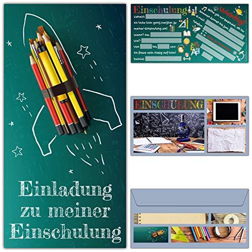 12 Einschulung Einladungskarten RAKETE im Set mit Umschlägen - Einladung zum Schulanfang Schuleingang Schulbeginn Karten für Kinder von BREITENWERK