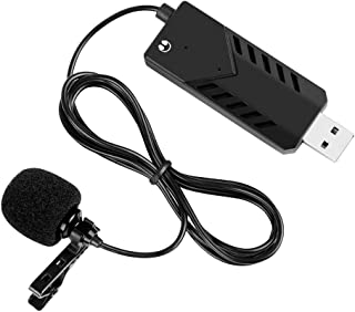 Portable Clip-On Cardioid Microphone USB Computer Lapel Mic Single Head Plug and Play with Metal Clip Sound Card Compatibl...