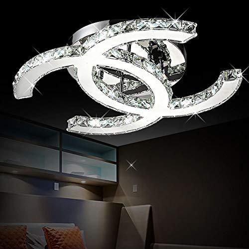 28W Lámpara De Techo LED K9 Lámpara De Techo Cristalina Moderna Simple Romántica Sala De Estar Comedor Dormitorio Elegante Lámpara De Espejo De Acero Inoxidable Estudio Creativo Lámpara De Cristal Dob