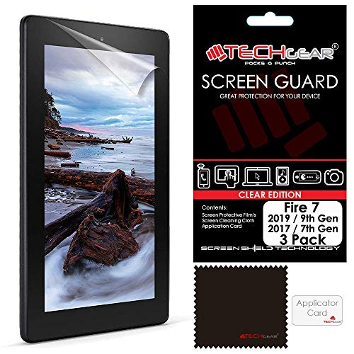 TECHGEAR [Pack of 3] Screen Protectors for New Amazon Fire 7' (2019 / 9th Generation & 2017 / 7th Gen.) Clear Lcd Screen Protector Covers for Fire 7 & Fire Kids Edition 7' 2019/2017