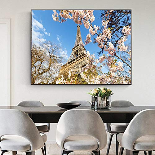 ganlanshu Romantische Stadtliebhaber Paris Eiffelturm Landschaft HD Ölgemälde Wandbild auf Leinwand,Rahmenlose Malerei,60x120cm