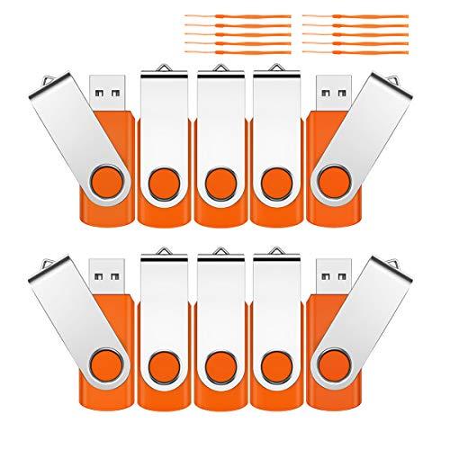 Chiavetta USB 2.0 da 4 GB, 10 pezzi, unità flash USB girevole a 360°, mini chiavette di memoria, con coperchio in metallo, per PC, computer, negozio, studente, regalo (arancione)