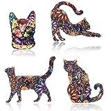 Unigift Juego de 4 broches creativos con diseño de gato con flores acrílicas para regalo diario o decoración de tela