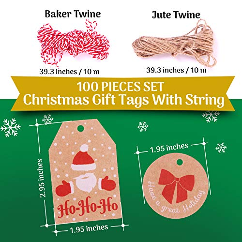 100 Pieces Set Christmas Tags with String Perfect for Labeling Your Surprises - 10 Different Designs Kraft Paper Tags with Twine Included Great for Present Wrapping, Baked Goods Tags, Price Tags Photo #5