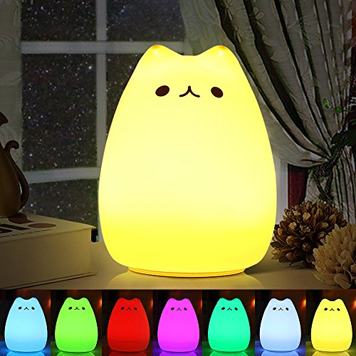 Luce Notturna LED , omitium lampada per i bambini lampada gatto di ricarica silicone multicolore luce notturna controllo sensibile luce decorazioni per camerette letto bambini