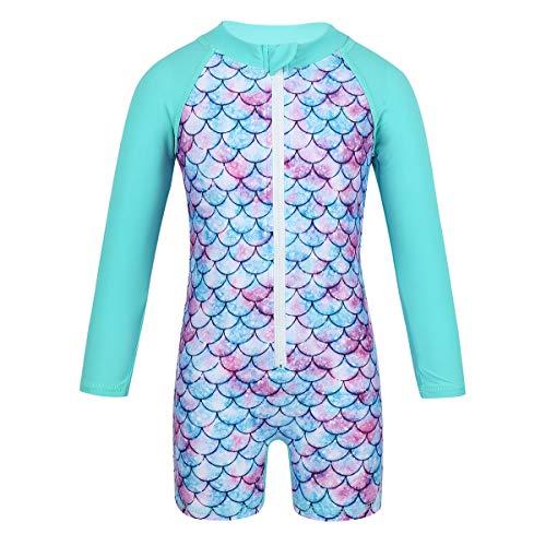iixpin Baby-Mädchen UV-Schutz Schutzbekleidung Meerjungfrau Badeanzug Einteiler Bademode All-Over Langarm Schwimmanzug Sonnenschutz Cyan 86-92