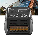 Riuty Controlador de Carga Solar, regulador de Panel Solar Controlador de Carga Controlador fotovoltaico Inteligente Identificación automática Regulador de batería 12V 10A