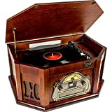 AMOS Retro Look Wooden Turntable 3 Speed Record Player Vinyl & CD to MP3 Converter with Stereo Speakers...