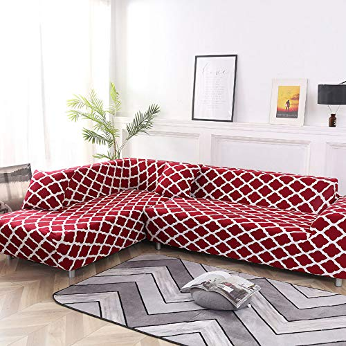 ASCV Geometrische Sofabezug Set Couchbezug Elastische Sofabezug für Wohnzimmer passend für Corner Chaise Longue Sofa A6 2-Sitzer