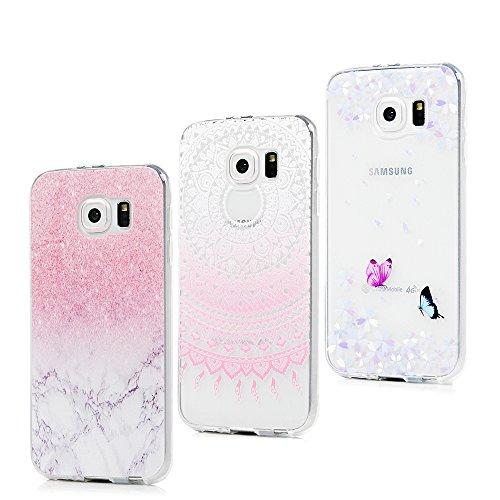 3x Funda para Samsung Galaxy S6, Carcasa Silicona Gel Case Ultra Delgado TPU Goma Flexible Cover para Samsung Galaxy S6 - Mármol + Totem Rosa + Mariposa