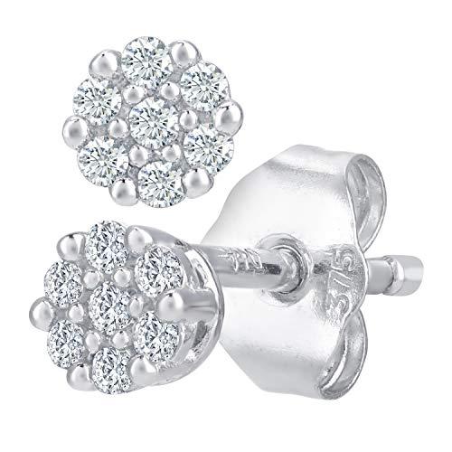 Naava Pendientes de Mujer con Oro blanco de 9 quilates (375) con Diamantes Brillantes